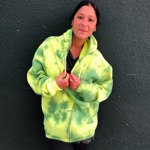 Lightening Green Neon Tie Dye Zip Up Hoodie - Youngwildandserene