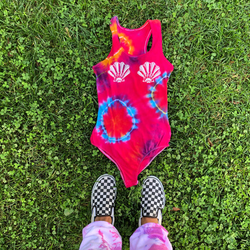 Rainbow Mermaid Sea Shells Tie Dye Bodysuit - Youngwildandserene