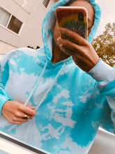 Load image into Gallery viewer, Baby Blue Tie Dye Hoodie - Youngwildandserene