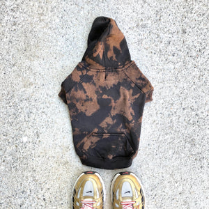 Dog Black Bleach Wash Tie Dye Hoodie