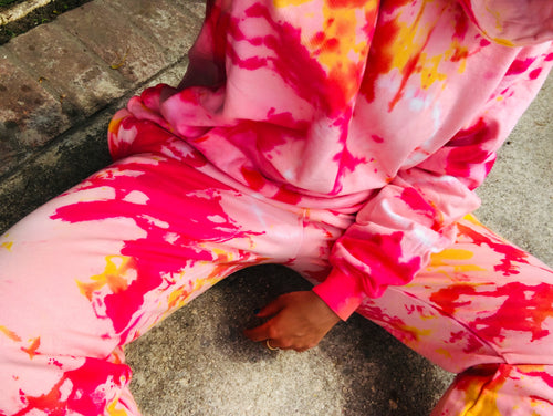 Electric Red Tie Dye Loungewear Set - Youngwildandserene