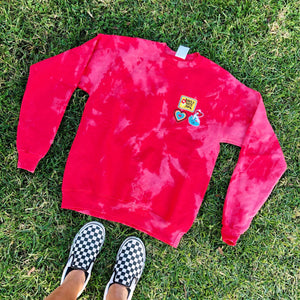 Multi Patch Red Tie Dye Crewneck
