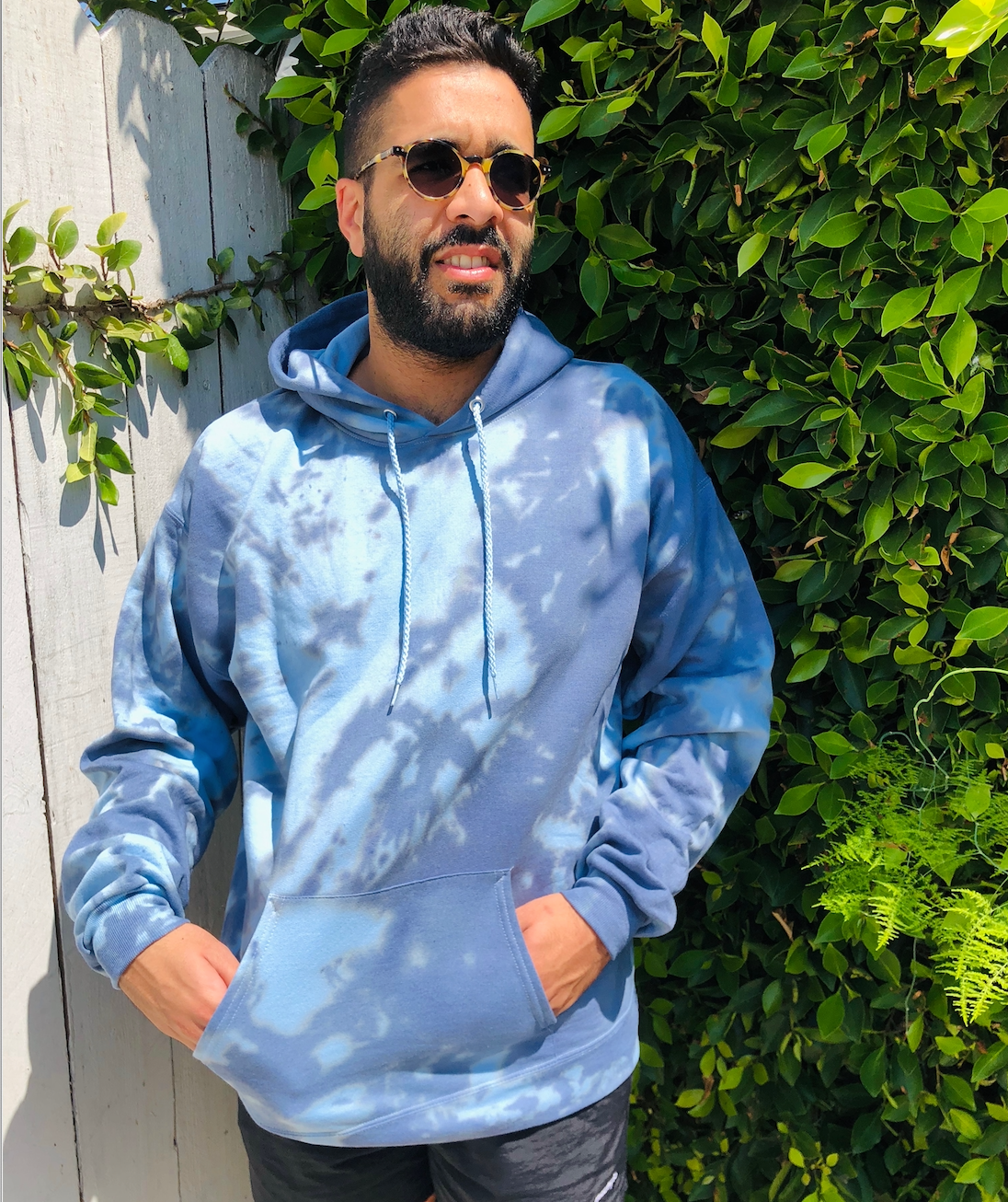 Grey and Blue Swirl Tie Dye Hoodie