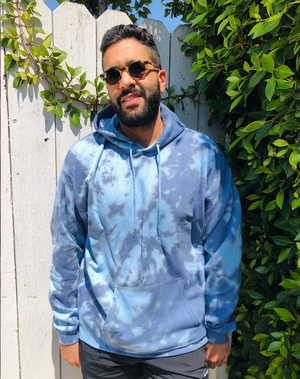 Open image in slideshow, Grey and Blue Swirl Tie Dye Hoodie