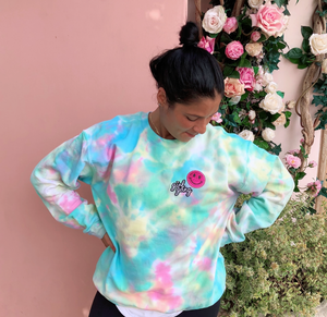 Rainbow Girl Gang Smiley Patch Tie Dye Crewneck - Youngwildandserene