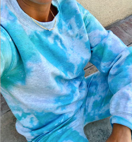 Icy Blue Tie Dye Crewneck - Youngwildandserene