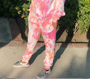 Open image in slideshow, Peach Sherbert Tie Dye Joggers - Youngwildandserene