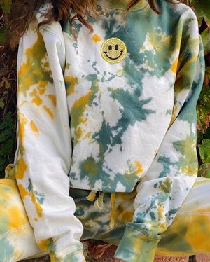 Open image in slideshow, Green And Yellow Smiley Patch Tie Dye Crewneck