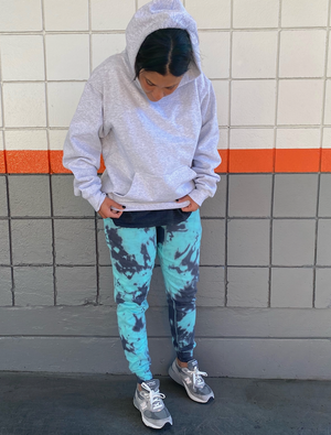 Open image in slideshow, Grey and Blue Tie Dye Joggers