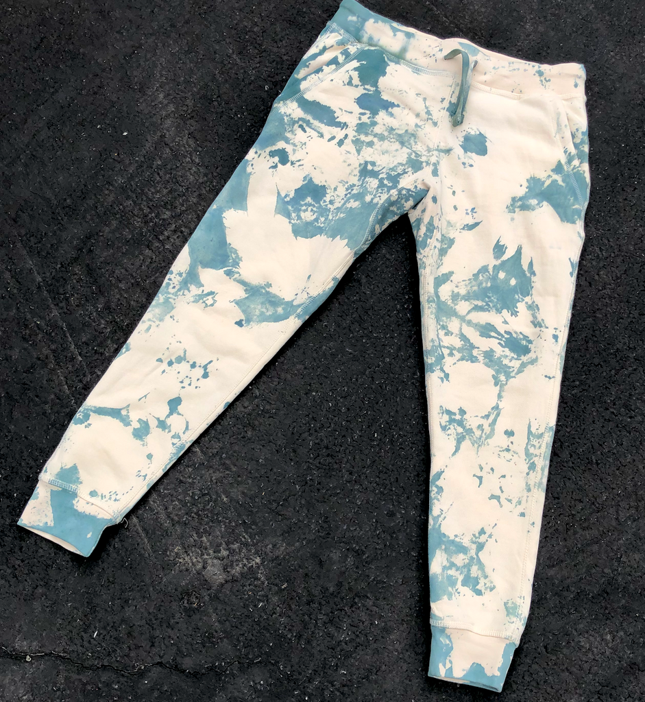 Cream Green Tie Dye Joggers