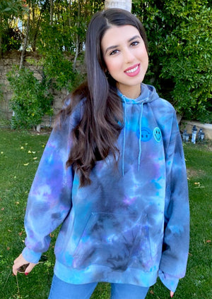 Blue and Black Smiley Patch Tie Dye Hoodie