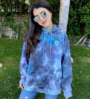 Open image in slideshow, Blue and Black Smiley Patch Tie Dye Hoodie