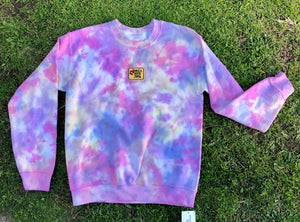 Have A Nice Day Patch Tie Dye Crewneck - Youngwildandserene
