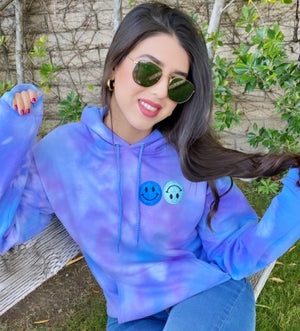 Sky Blue Smiley Patch Tie Dye Hoodie