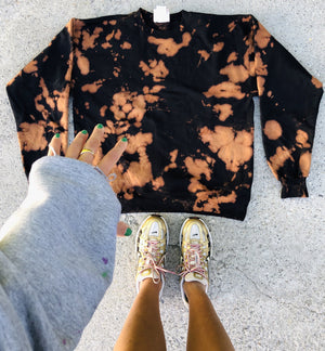 Orange Is The New Black Bleach Tie Dye Crewneck - Youngwildandserene