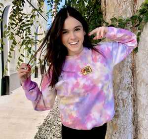 Open image in slideshow, Have A Nice Day Patch Tie Dye Crewneck - Youngwildandserene