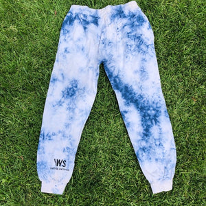 Open image in slideshow, Blue Acid Wash Tie Dye Joggers