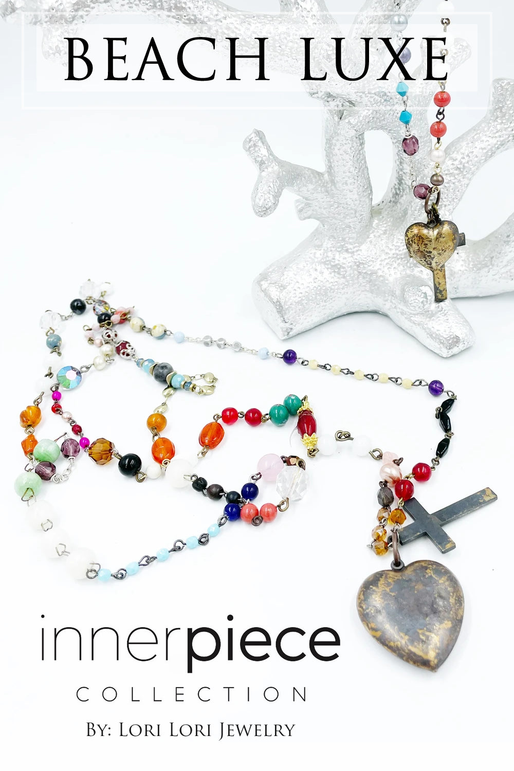 Beach Luxe Vintage Assemblage Lovebead Necklace