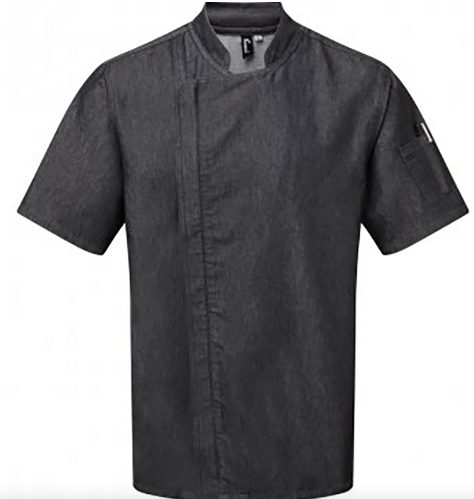 Chefs Zip Black Denim Jacket Short Sleeve