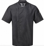 Load image into Gallery viewer, Chefs Zip Black Denim Jacket Short Sleeve
