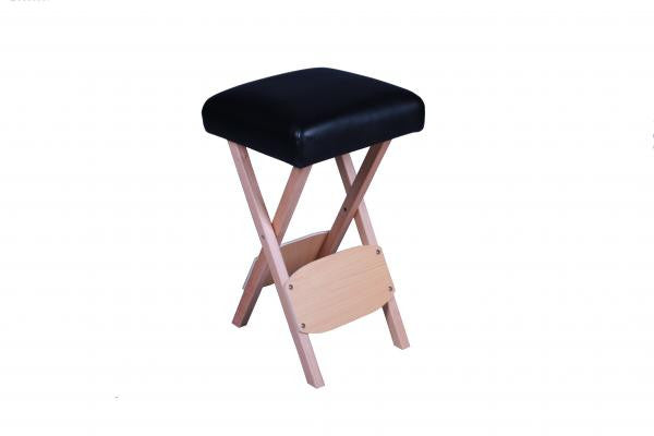Folding Wooden Massage Stool Black