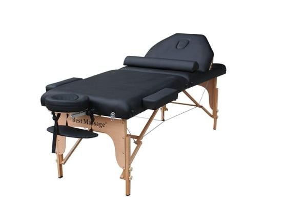 "Biltmore Massage Table with 4"" Pad 30"" Width + Reiki Lift + Bolster Pillow Black"