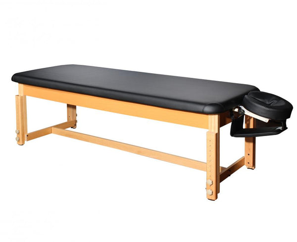 Deluxe PU Leather Stationary Flat Top Massage Table Black
