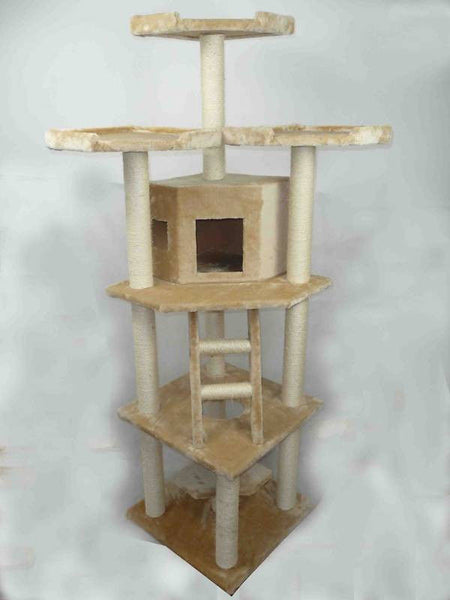 "76"" Cat Tree Scratching Post Beige"