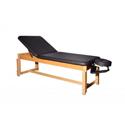 Deluxe PU Leather Stationary Massage Table with Reiki Lift Black