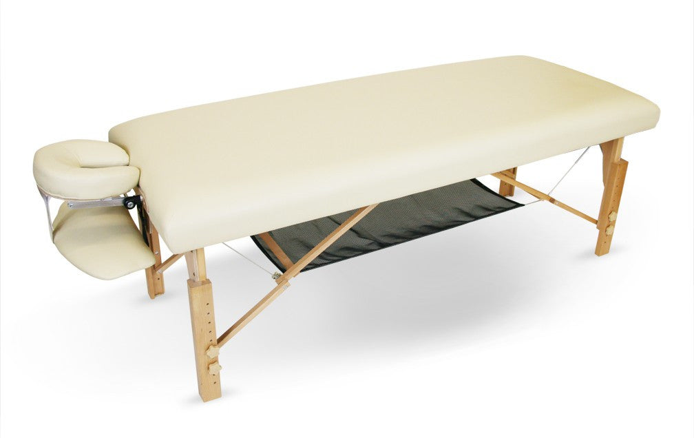 The Simplicity is a stationary massage table with a smooth, flat-top design and elements of a portable massage table like a shiatsu release function, built-in reiki panels, and an open-concept design. It is hundreds of dollars less than other stationary tables and comes with a special mesh storage shelf.