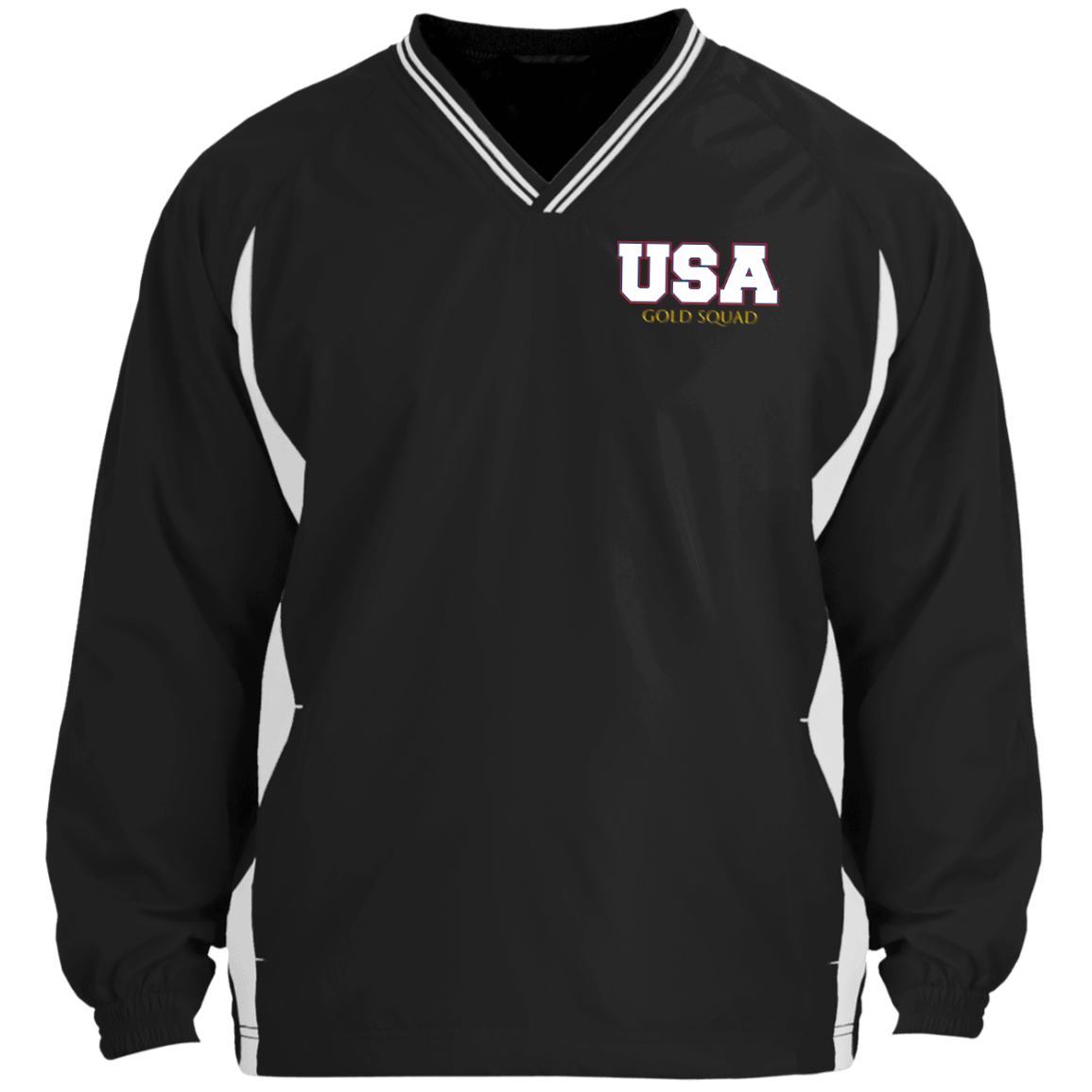 Mens USA Gold Squad Tipped V-Neck Windshirt