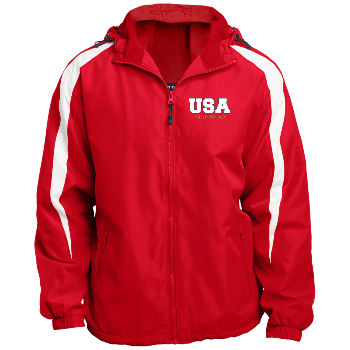 Mens USA Gold Squad Fleece Lined Colorblocked Hooded Jacket