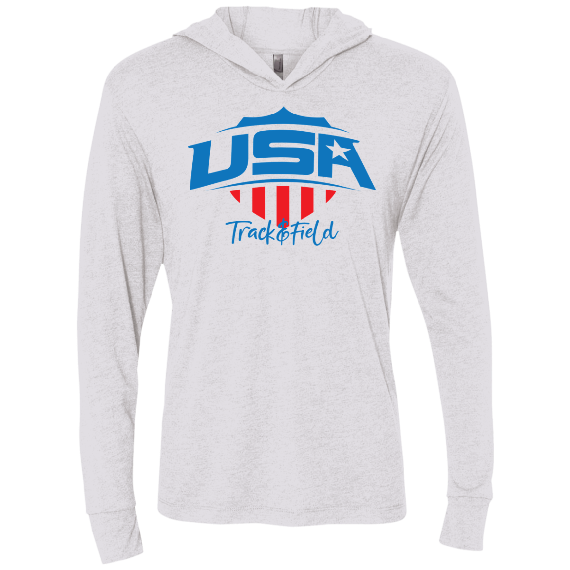 Mens USA Track & Field Triblend LS Hooded T-Shirt