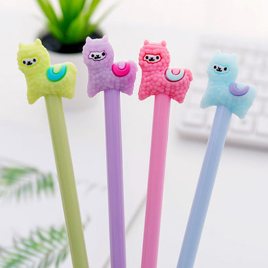 1 Piece Gel Pens Korean Cartoon Creative Alpaca Neutral Pen Student Writing Office Stationery Black Signature Pen