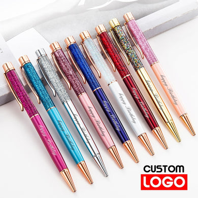 Creative Gold Foil Oil Pen Crystal Wafer Pen High-grade Metal Signature Pen Custom LOGO Lettering Engraved Name Stationery