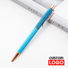 Load image into Gallery viewer, Creative Gold Foil Oil Pen Crystal Wafer Pen High-grade Metal Signature Pen Custom LOGO Lettering Engraved Name Stationery