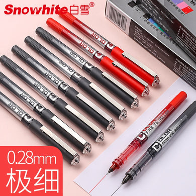 12PCS SNOWHITE PVN 159 Direct Fluid Roller Pen 0.28mm Very Fine Gel Pen Carbon Black Blue Red Color Muji Pen