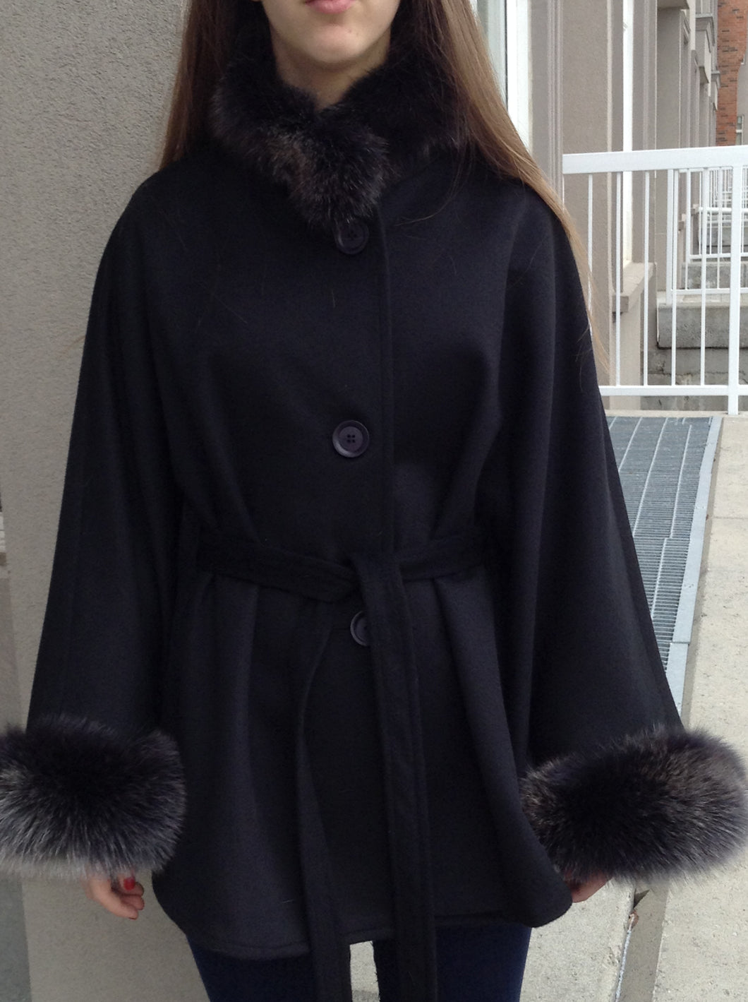 Maria Belted Cape -  Cashmere & Wool Blend-Fox Trim