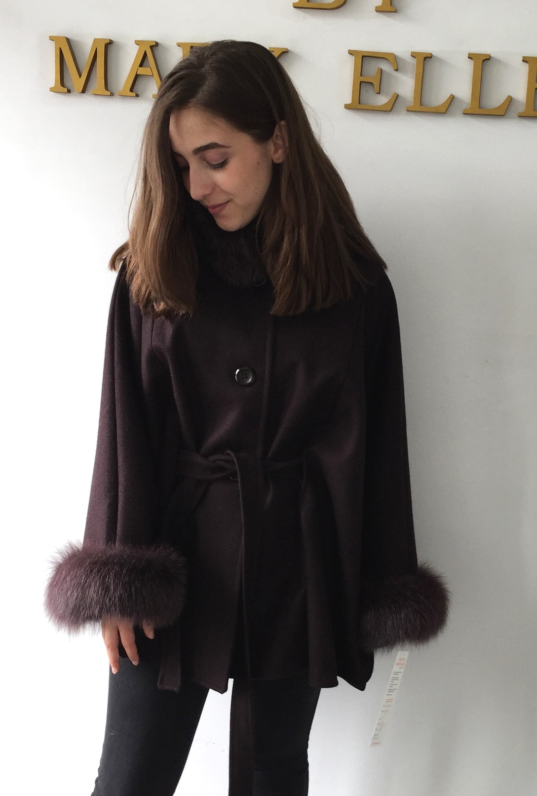 Maria Belted Cape-  Cashmere & Wool Blend -Fox Trim