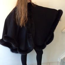 Load image into Gallery viewer, Vanessa Wrap Cape -  Cashmere & Wool Blend-Fox Trim All Around Edge