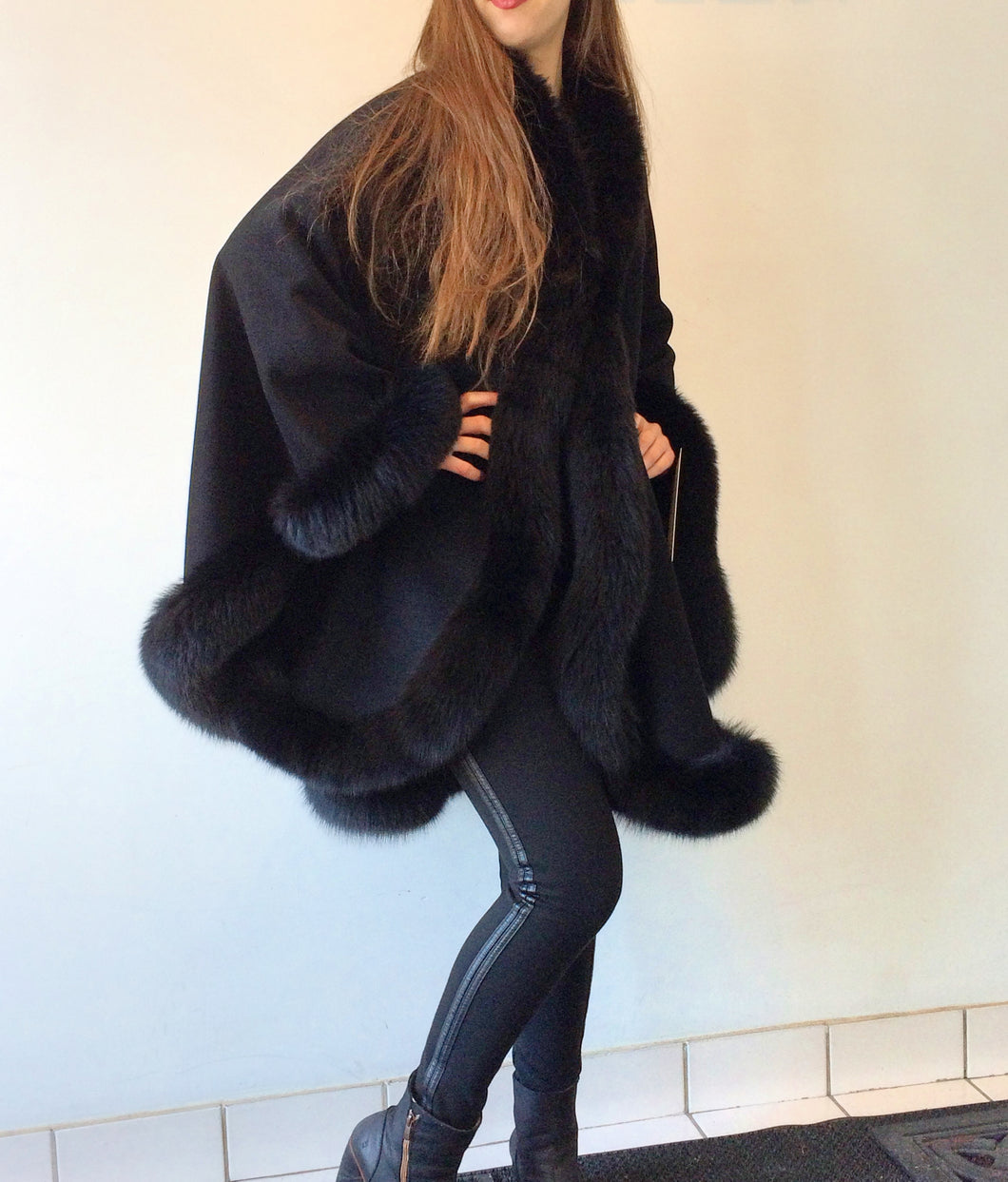 Vanessa Wrap Cape -  Cashmere & Wool Blend-Fox Trim All Around Edge