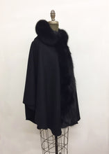 Load image into Gallery viewer, Ella Hooded Cape - 50% Cashmere & Wool Blend - Genuine Fox Trim