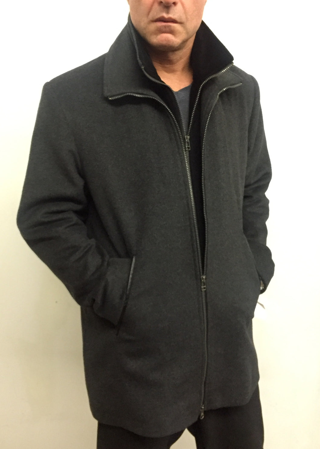 Jonathan Double Zip Jacket - Cashmere & Wool with Velvet Trim