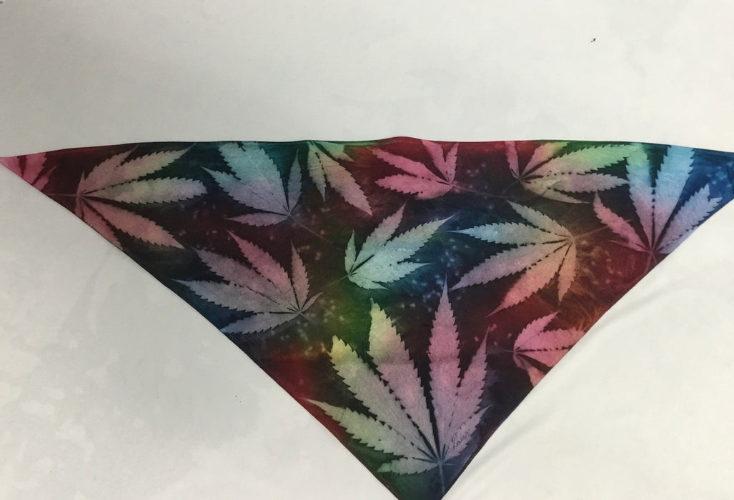 Heavy Cotton Bandana or head scarf - Cannabis with Black Multi-colours