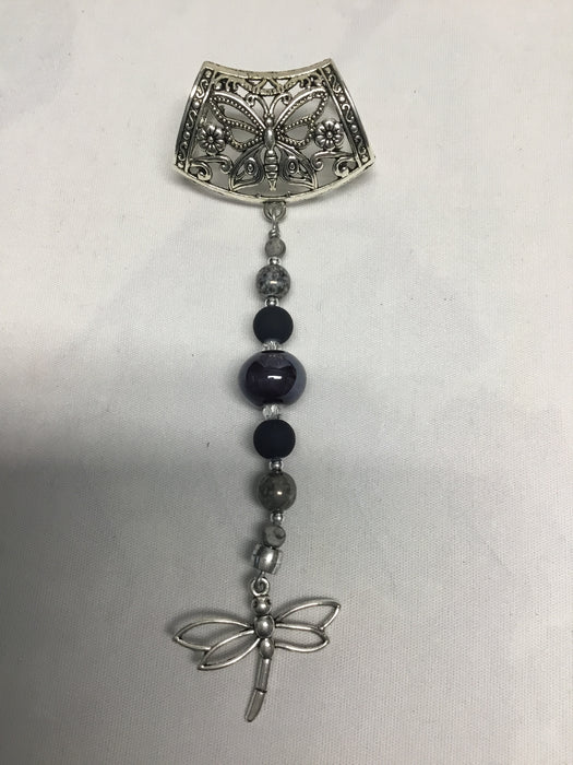 Dragonfly Scarf Jewelry with a metal bead charm