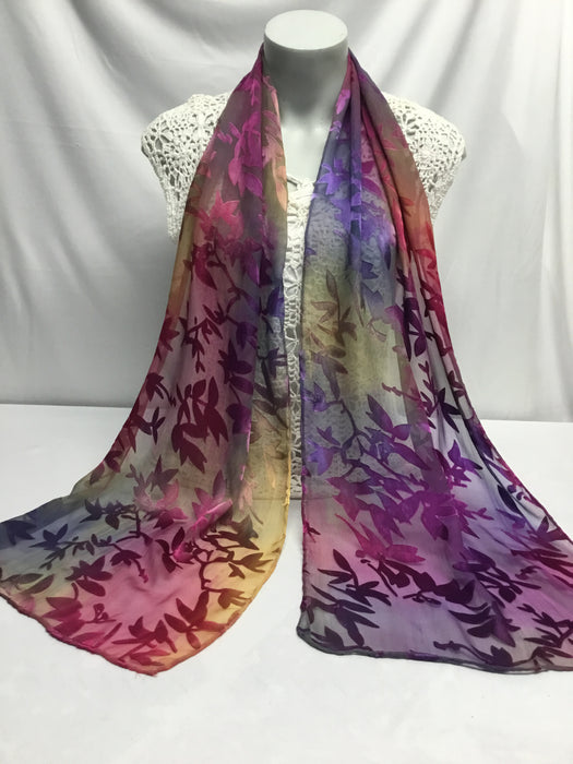 Spray dyed silk/rayon scarf - Purple, Gold, Fuchsia