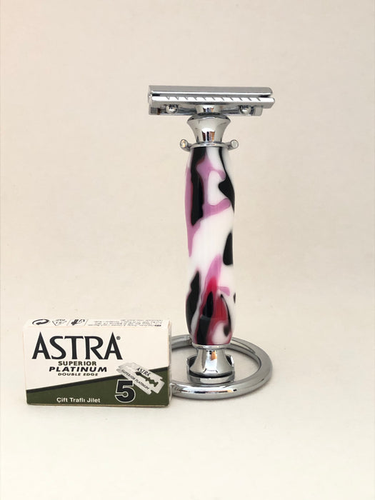 Safety Razor - White & Pink