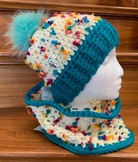 Beanie and Cowl Set - Turquise