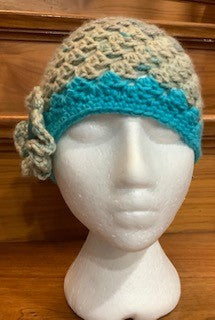 Messy Bun Beanie with Removable Flower