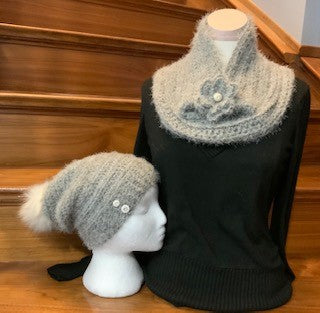 Grey Velvet Slouch and Cowl Set